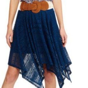 No Boundaries Lace Sharkbite Skirt Blue